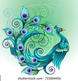 Vector illustration, beautiful green peacock symbol