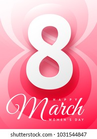 Vector illustration of beautiful greeting card on March 8 Happy Woman's Day in pink color