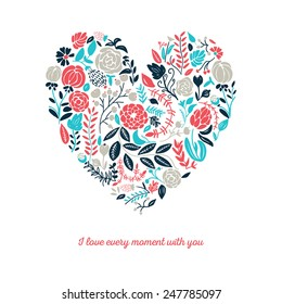 Vector illustration of beautiful hand drawn flowers and plants in heart. The best for Valentines's Day, Wedding and Birthday design.