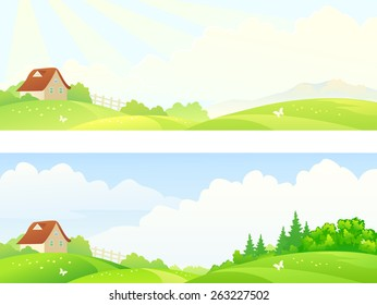 Vector illustration of a beautiful hilly countryside