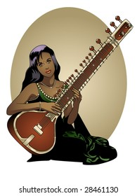 vector illustration of a beautiful Indian woman playing a sitar