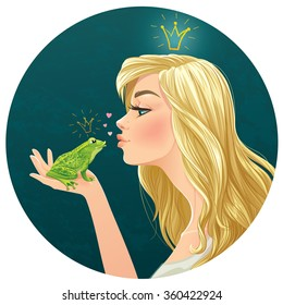frog kissing a Asian girl