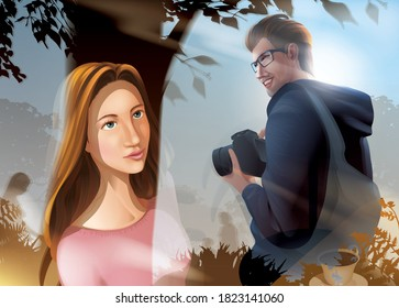 A vector illustration of a beautiful lady stealing a glance at the male photographer through the glass window from inside the cafe