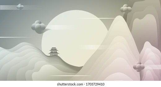 Vector illustration of beautiful landscape background with a night,  hills,  sky,  pavilion.