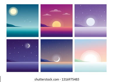 Vector illustration of beautiful landscape with sea views. Morning, night, sunrise, dawn, sunset, dusk, noon. Nature landscapes at different day times in flat cartoon style.