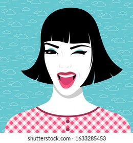 Vector illustration of beautiful laughing woman wearing checked dress against blue background with clouds