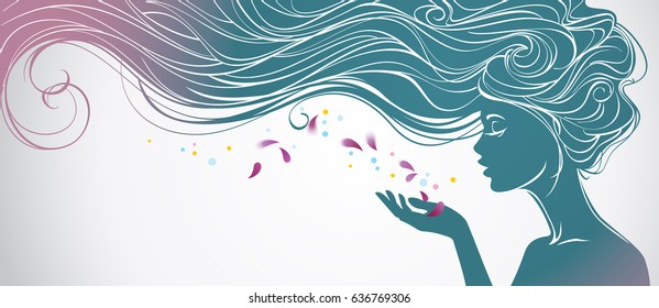 Vector illustration with beautiful  long hair girl blows away flower petals from her palm. Design concept for beauty salons, spa, cosmetics, fashion and beauty industry.