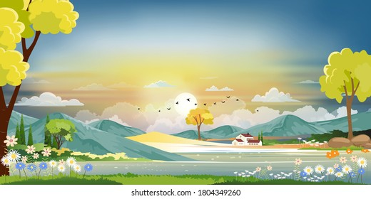 Vector illustration of beautiful morning in spring field landscape with green hills,lake,barn with blue sky and clouds,Flat cartoon style  background for spring and summer banner