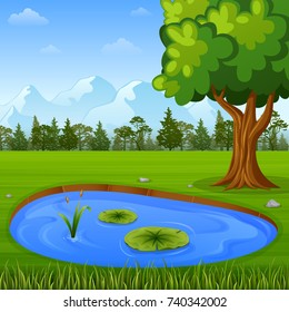 Vector illustration of Beautiful nature landscape with mountains and water pond