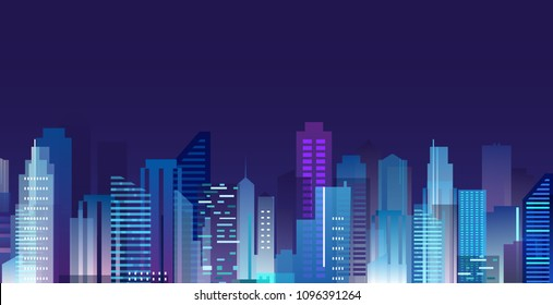 Vector illustration of beautiful night city, skyscrapers lights in night metropolis, skyline in flat style.