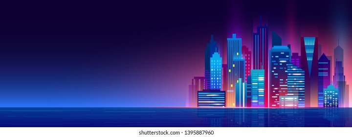 Vector illustration of beautiful night city with neon lights and glow colors. Modern big city, night megapolis.