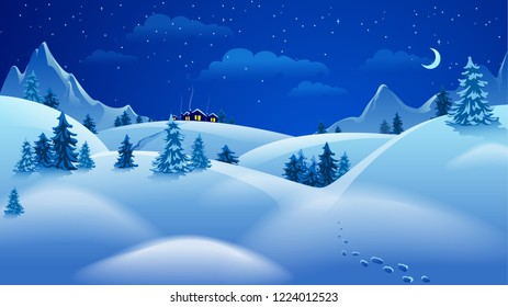 Vector illustration with beautiful night landscape in modern flat style. Template for design of banners, posters and much more. Hill houses with winter weather and blue mountains at night
