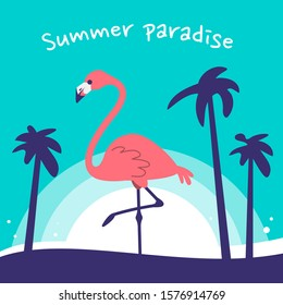 Vector illustration of beautiful pink flamingo bird standing on one leg in sea water on color background with sun and palm. Flat style design of flamingo for web, site, banner, card, print
