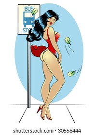 vector illustration of a beautiful pinup model waiting at a bus stop on a breezy day.