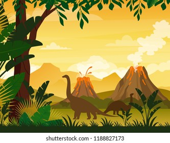 Vector illustration of beautiful prehistoric landscape and dinosaurs. Tropical trees and plants, mountains with volcano in flat cartoon style.