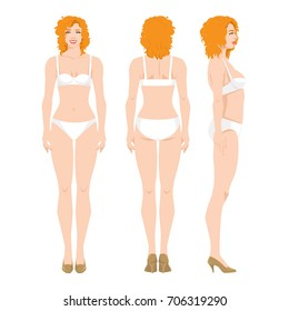 Vector illustration of beautiful redhead woman in underwear isolated on white background. Various turns woman's figure. Side view, front and back view