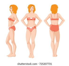 Vector illustration of beautiful redhead woman in underwear on white background. Various turns woman's figure. Side view, front and back view. Woman with curly hair