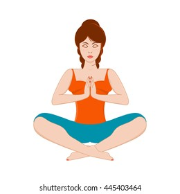 Vector illustration of beautiful redhead young woman practicing yoga, meditating in yoga pose isolated on white background.