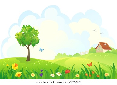 Vector illustration of a beautiful rural spring day