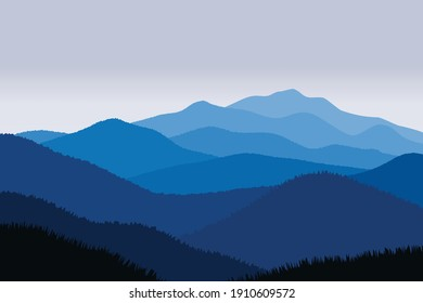 Vector illustration of beautiful scenery mountains in dark blue gradient color