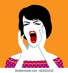 Vector illustration of beautiful screaming woman