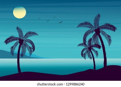 Vector illustration of beautiful seaside tropical landscape. Summer paradise. Sunny summer with sea and silhouettes palm trees , birds, mountains in flat cartoon style.