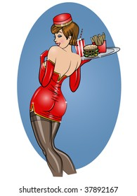 vector illustration of a beautiful sexy carhop pinup