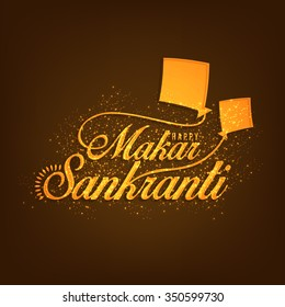 Vector illustration Beautiful shiny text on golden background design of Makar Sankrant.