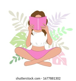 Vector illustration with beautiful silhouette of a girl sitting reading a book on the tropical leaves background. Knowledge concept