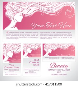 Vector illustration. Beautiful silhouette of long hair woman on pink background. Templates of banner and business card. Concept design for beauty salons, spa, cosmetics, fashion and beauty industry.