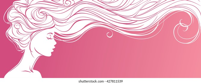 Vector illustration. Beautiful silhouette of long hair woman on pink background. Concept design for beauty salons, spa, cosmetics, fashion and beauty industry.