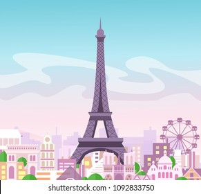 Vector illustration of beautiful skyline city view with buildings and trees in pastel colors. Symbol of Paris in flat cute style with city and Eiffel tower, France.