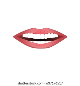 Vector illustration of beautiful smile with white teeth.