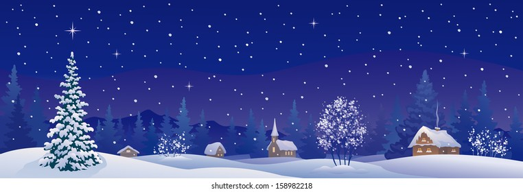 Vector illustration of a beautiful snowy winter village