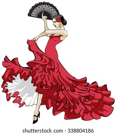 Vector illustration of a beautiful Spanish flamenco dancer with long dress and fan