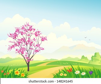 Vector illustration of a beautiful spring landscape with a blooming tree
