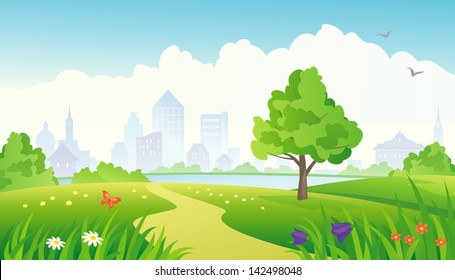Vector illustration of a beautiful summer city park