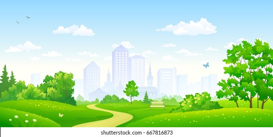Vector illustration of a beautiful summer city park, panoramic banner - Shutterstock ID 667816873