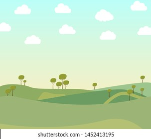 Vector illustration of beautiful summer fields landscape with a dawn, green hills, bright color blue sky in flat style banner.