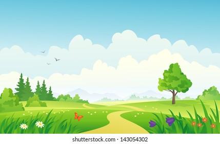 Vector illustration of a beautiful summer landscape