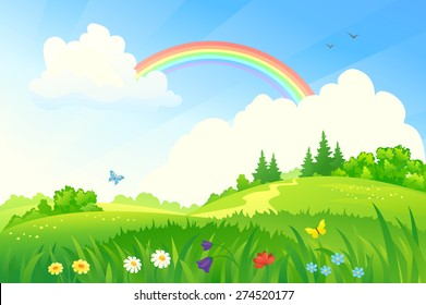 Vector illustration of a beautiful summer landscape with a rainbow