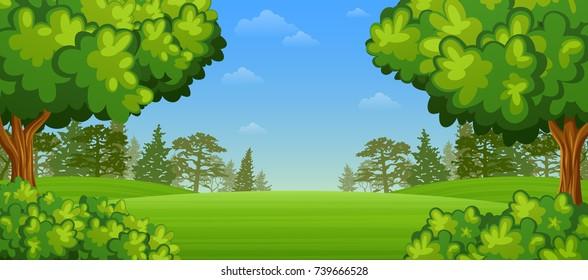 Vector illustration of Beautiful summer landscape