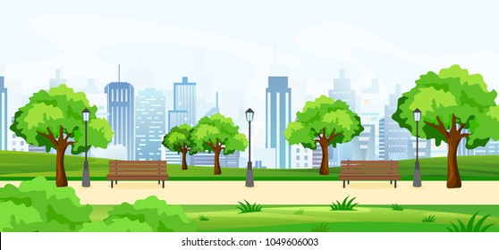 Vector illustration of a beautiful summer park, with green trees and benches, panoramic view on big modern cityscape with skyscrapers. Flat cartoon style.