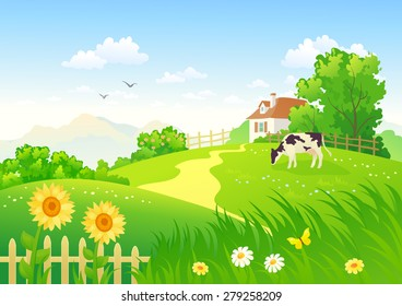 Vector illustration of a beautiful summer rural scene with a grazing cow