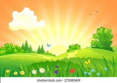 Vector illustration of beautiful summer sunset landscape