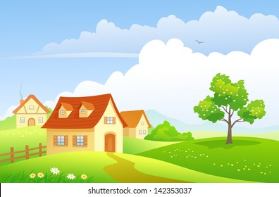 Vector  illustration of a beautiful summer village on the hills