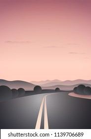 Vector illustration of beautiful sunset lanscape with road