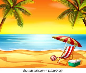 vector illustration of the beautiful sunset view background in the beach with the beach chair and coconut trees
