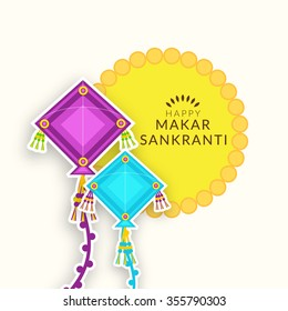 Vector illustration Beautiful text on grungy background design of Makar Sankranti.