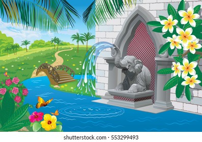 Vector illustration of beautiful tropical landscape with a fountain in the shape of an elephant near the river